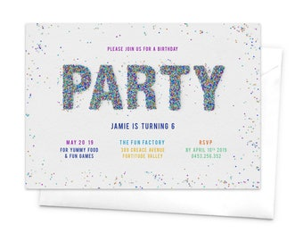 Sprinkles, Colorful Invitation, Birthday Invitation, Bright Colors, Teen Party, Hundreds and Thousands, Kid's Birthday, Party Sprinkles