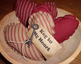 Primitive Red Homespun TIcking Raggedy Hearts Valentine Bowl Filler Ornies