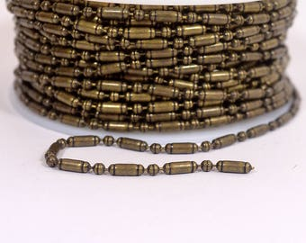 2mm Ball and Bar Chain Chain - Antique Brass - CH163 - Choose Your Length & Finish