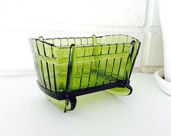 Indiana Glass Green Cradle Planter