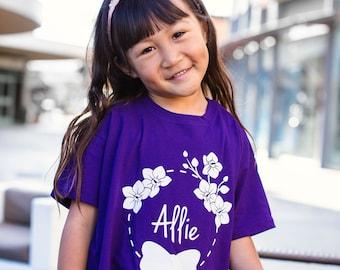 Girls shirt, personalized shirt, name shirt, flower shirt, girl birthday shirt, customizable girl shirt, bow shirt, cute girl shirt, pretty