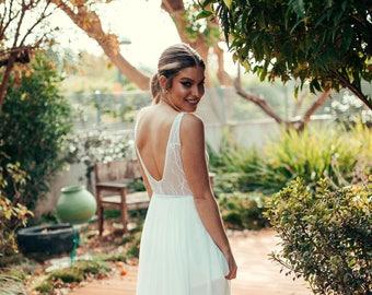 Wedding Dress, V Neckline, Shiny Lace Top, Beach Wedding, Glam, Train Skirt, Modern, Lace Wedding Dress, kala kala bridal, Open Back, Modern