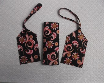 New Price   - Pink Swirls and Floral Luggage Tag and Handle Wrap Set