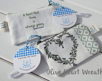 Printed Cotton Purse - Olive Heart