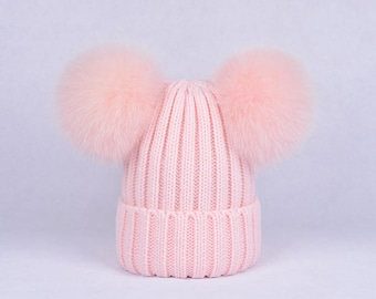 double pom pom hats Custom Children/Adult Hats Knit baby pink Hat with Fox Puffs Ball Double Pom Poms Beanies Baby Hats
