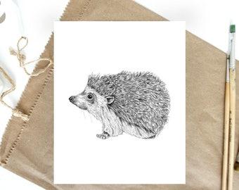 Hedgehog Art, Baby Animal Art, Animal Drawings, Animal Art for Kids, Woodland Nursery Art, Animal Print, Animal Art for Nursery, Baby Animal