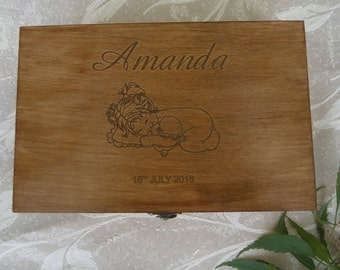 Personalized Baby Keepsake, Memory Box, Christening Box, Baptism Box, Wooden Box, Gift for Baby Girl, Newborn, Gift for birthday
