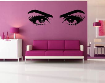 Wall Decal Sticker BedroomBeautiful Eyes Lashes EYE BROWS Woman Girl Beauty Salon 789b