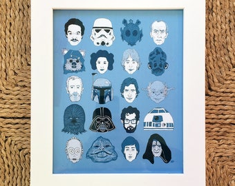 Star Wars Original Trilogy Characters & George Lucas Movie Art Illustration Print