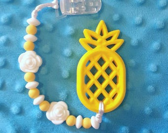 Pineapple Teether Toy - Personalized Teether - Personalized Baby Shower Gift - Unique Baby Shower Gift - Pacifier Clip with Silicone Teether