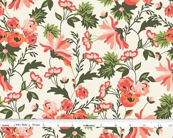 Coral Floral Fabric, Floral Quilt Fabric, Riley Blake Apricot & Persimmon C4900 Main Cream, Carina Gardner, Peach Floral Fabric, Cotton