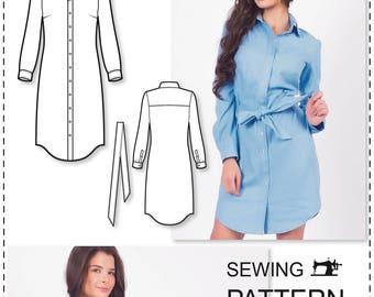 Sewing Patterns - Shirt Dress Pattern - Dress Patterns For Women - Long Sleeve Dress Pattern - Sewing Tutorial - Sew Pattern - Sewing Dress