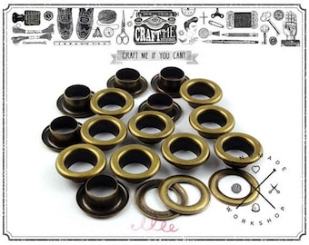"""100pcs 1/4"""" Hole Sets Antique Brass Bronze Metal Grommets Eyelets with Washers For Bead Cores, Clothes, Leather, Canvas"""