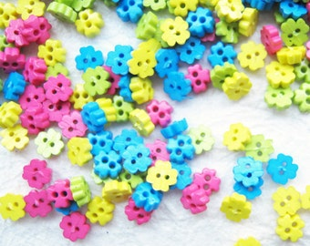Tiny 2 hole flower button - 4 mm.  100 pcs assorted colors for making Barbie, Blythe and dolls clothes SET 5