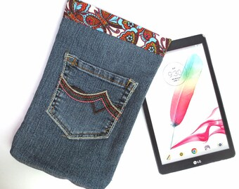 Fancy Recycled Jeans Bag with Embroidered Flowers, Butterflies, fits iPad Mini, 7 inch Kindle, Nook Color, more