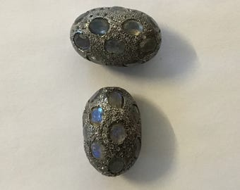 Pave white topaz labrorite sterling silver beads