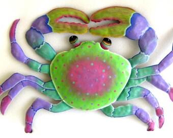 "Painted Metal Crab, Metal Wall Hanging,Tropical Decor, Beach Decor, Garden Art, Outdoor Metal Art, Garden Decor, Patio Art, 22"", 227-PK"