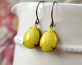 Lemon Yellow Teardrop Earrings, Large Drop Earrings, Mid Century Style, Vintage Glass Jewellery, Retro Yellow Gift for Mothers Day