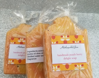 Hand-made peachberry delight soap