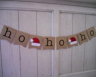 Ho Ho Ho Banner . Ho Ho Ho . Christmas Banner . Christmas Decoration . Holiday Decoration . Holiday . Glitter . Customize Bunting Flag Color