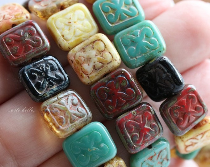sale .. TRIX MIX .. 15 Picasso Czech Glass Rectangle Beads 12x10mm (5616-st)
