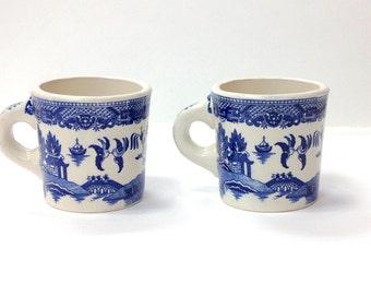 Pair of Williow Ironstone ceramic mugs (blue and white)