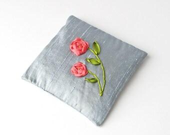 Orange roses lavender sachet, embroidered silk ribbon roses, June birthday gift, drawer freshener, scented sachet, blue silk sachet