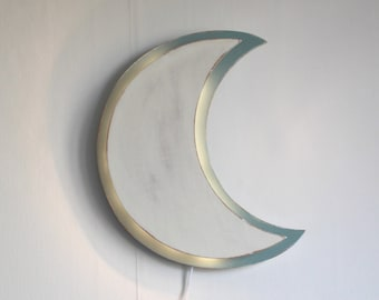 White and blue moon night light patina