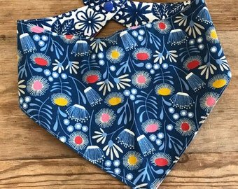 Floral Deco Reversible Dog Bandana , snap/tie on dog bandana