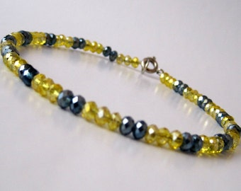 Yellow and Gray Crystal Anklet