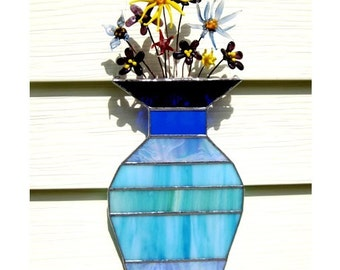 A Bouquet For You- stained glass sun catcher with flame worked flowers.
