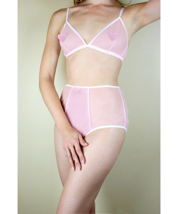 Sheer pink bra and panty set sheer lingerie set high waisted