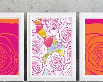 Floral Modern wall art decor-Set of  (3 Pink and orange roses