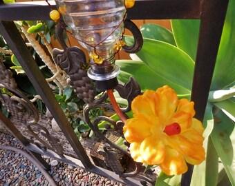Handcrafted Glass Hummingbird Feeder