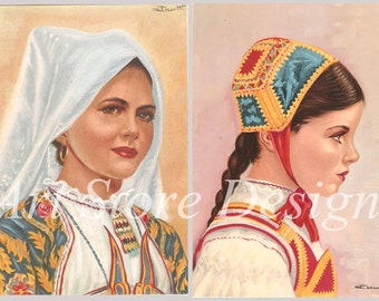 n. 2 Greeting Postcards by Perrotti - Original Sardinia (Sardegna) Folk Dress - Ollolai and Desulo