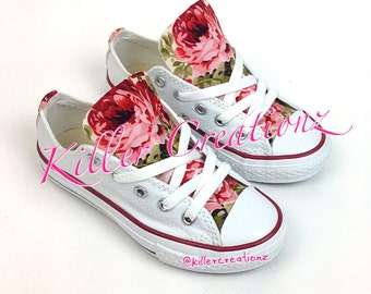 Custom Floral Converse for kids, any size, made to order
