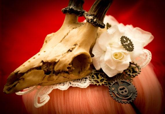 Steampunk hat Animal Antler Skull headband Day of the Dead Wedding fascinator