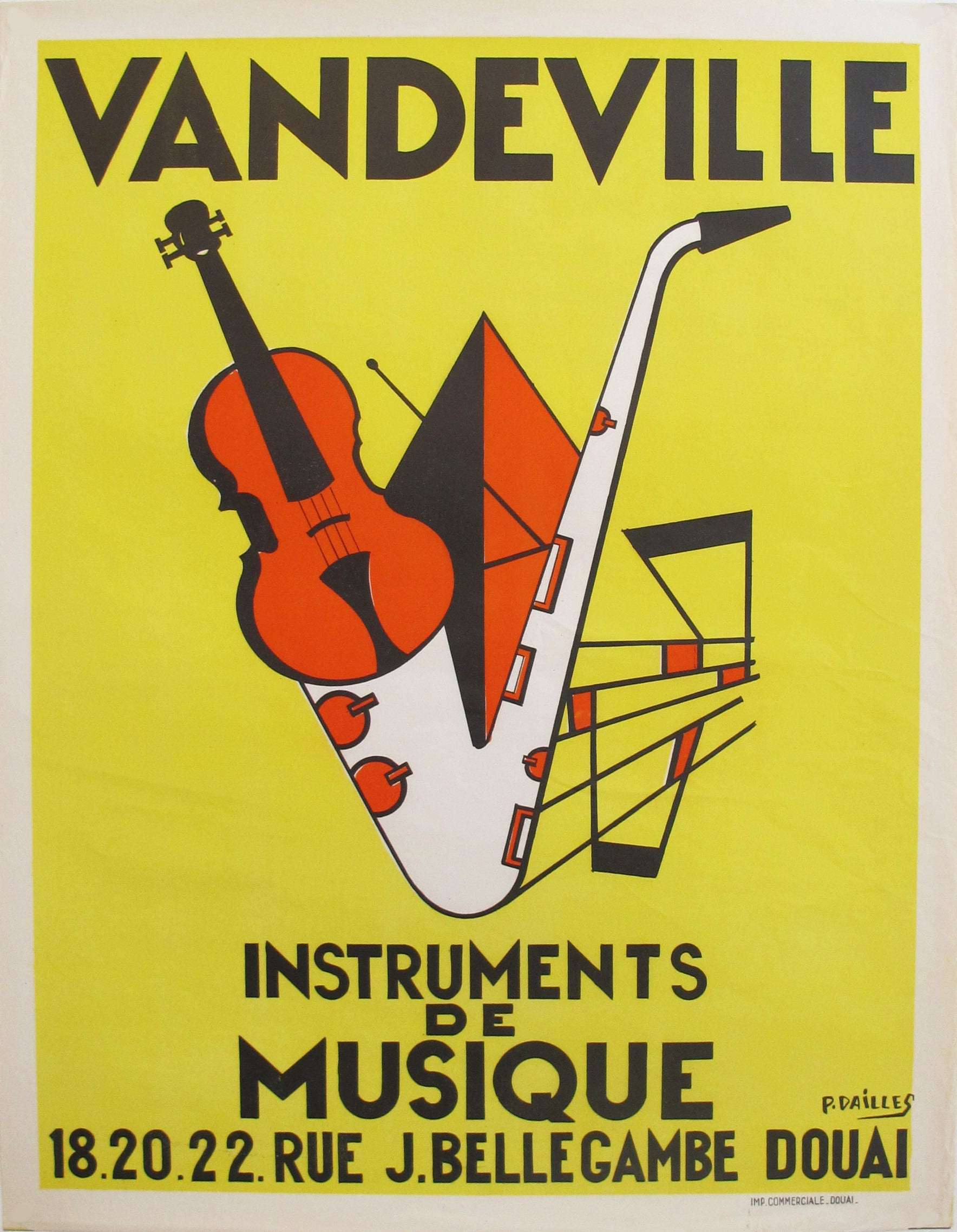 1950s French Art Deco Music Poster Jazz Poster Yellow