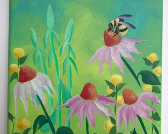 Bee in the Echinacea Garden on canvas
