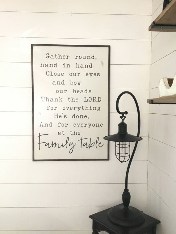 FAMILY TABLE sign 2X3 | distressed shabby chic wooden dining room wall decor | painted farmhouse art | painted wood plaque