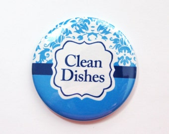 Clean Dishes, Dishwasher magnet, the dishes are clean, kitchen magnet, clean dishes magnet, Magnet, Damask, Blue, Kellys Magnets (3679)