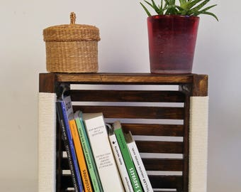 Wooden crate. Store books, library lasuree handles 100% cotton - 30 / 30cm