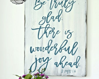 Joy Sign Rustic Sign Farmhouse Decor Wooden Sign Bible Verse Decor Christian Wall Decor Distressed Wood Sign Scripture Sign Christian Quotes