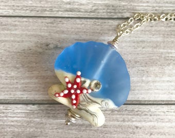 Blue ivory  shell - Lampwork pendant Shell - OOAK handmade Necklace Colorful jewerly - sea shell pendant - beach necklace - lampwork pendant