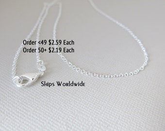 """18"""" - 925 Sterling Silver Filled Chain - Dainty Fine - 18"""" - 18 Inch - Lobster Claw Clasp - .925 Stamped - Cable Chain"""