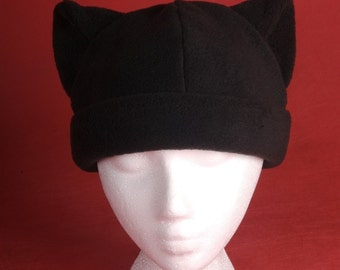 Kitty Cat Hat - Black Fleece Mens Womens Animal Ear Beanie by Ningen Headwear