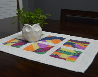 Modern geometric quilted mini quilt