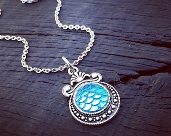 Turquoise Mermaid Scale Pendant Necklace | Mermaid Jewelry | Mermaid Lover Jewelry | Mermaid Gift | Beach Jewelry | Nautical Jewelry