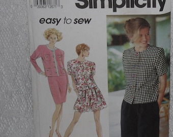 Simplicity 7867 Pattern Misses' Jacket, Wide Leg Shorts & Skirt Size 10 12 14 16 Uncut Easy