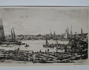 SCOTTISH ART. Sir Muirhead Bone  (1876 - 1953). Autumn Breeze, Lowestoft. Pencil signed etching. Dated 1934